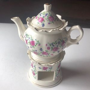 Vintage shabby pink roses teapot candle warmer